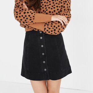 Madewell metropolis Black Button Front skirt 6
